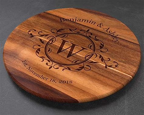 """Personalized Lazy Susan Turntable - Large 18"""" Acacia Wood"""