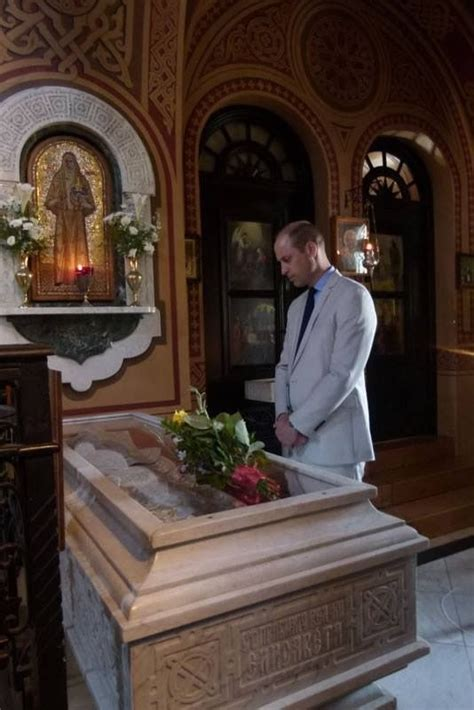 The Duke of Cambridge standing by the tomb of Grand
