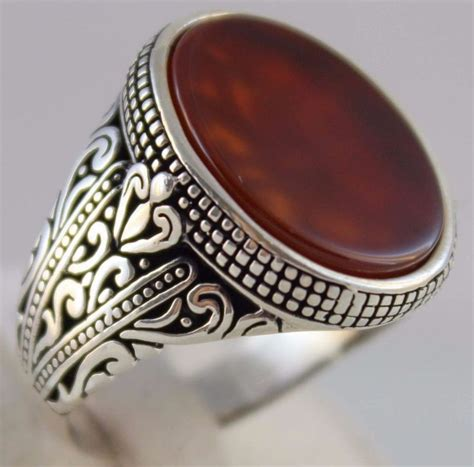 925 Sterling Silver Red Agate Stone Turkish Handmade
