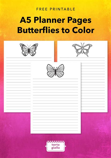 Free Printable - A5 Planner Pages - Butterflies to Color
