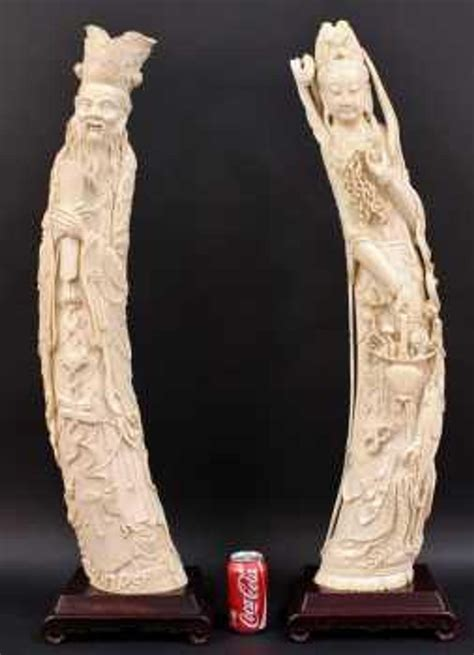 Pair of exquisitely carved Chinese antique carved ivory