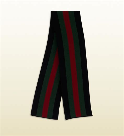 Lyst - Gucci Signature Web Black Knit Scarf in Black for Men