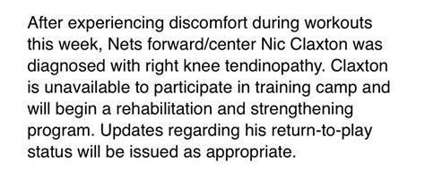 Nicolas Claxton will miss camp with knee tendinopathy, to
