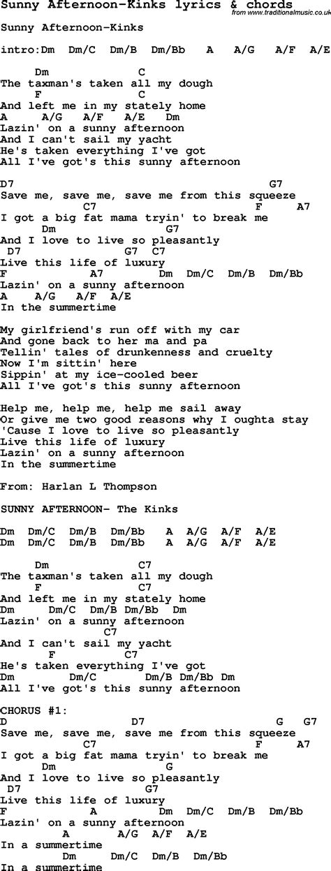 Love Song Lyrics for:Sunny Afternoon-Kinks with chords