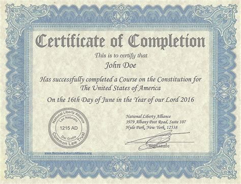 Certificate of Completion   National Liberty Alliance