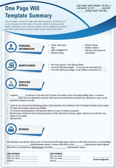 One Page Will Template Summary Presentation Report