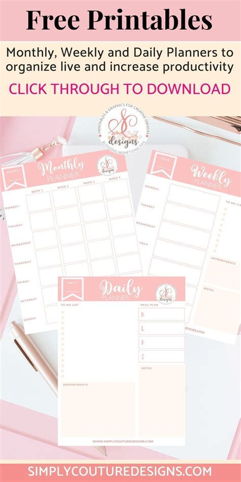 Monthly Weekly Daily Planner Printables | Personal Use